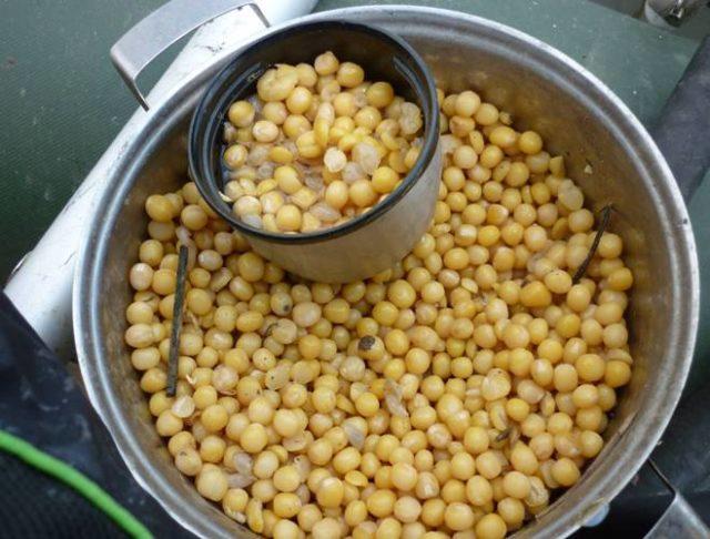 Горох заливают горячей водой, можно при этом добавить чайную ложку соды, и оставляют в термосе